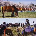 春が逃げてく。 十和田は昔、馬の産地だったらしい。これは流鏑馬( #やぶさめ )