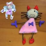 子どもの猫の絵をマスコットに。卒園式に飾るそう。保育園無茶言うなと思ったけど、作り始めたら案外楽しかった。